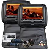 Eincar 9-Zoll-HD 800 * 480 Auflösung Double Twin Car Screens 2 PCS Auto-Kopfstütze Kissen Region kostenlos Dual-DVD-Player Auto-Entertainment-System IR-FM-Kunstleder-Auto-Monitor (schwarz)
