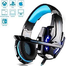 Gaming Headset Kopfhörer mit Mikrofon USB/3.5mm On Ear Surround Sound Ohrhörer und Lautstärkeregelung für PS4 Xbox One PC Laptop Tablet Mobile Phones Blau (G9000)
