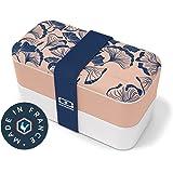 monbento - MB Original Graphic Ginkgo bento Box Motif Japonais Rose Made in France - Lunch Box hermétique 2 étages - Boîte Re