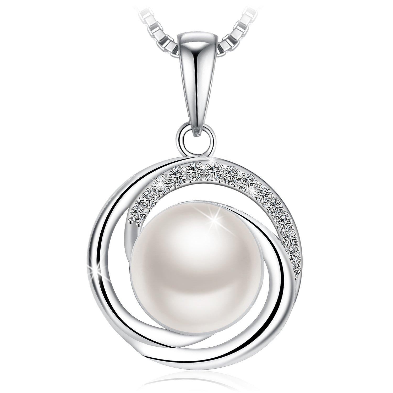 J.Rosée Collar de Perlas Mujer Joyería Perla de Agua Dulce Ley 925 Zirconia Brillante Regalos Originales con Hermosa Caja de Regalo