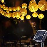 Geemoo Solar Lichtsnoer Buiten Lampions, 8M Lichtsnoeren op Zonne-Energie 30 LED Lantaarn, 2 modi, IP65 waterdicht, Decoratie