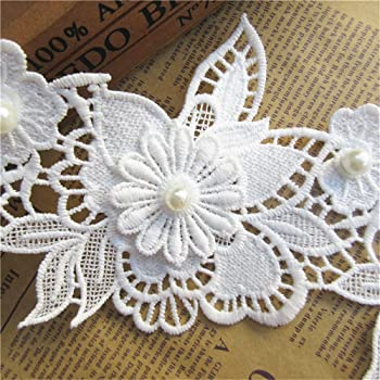 White 20pcs Flower Cotton Floral Lace Ribbon Edge Trim with Pearl Diamond Rhinestone 4cm// 1.5 inch Width Vintage Embroidered Applique Sewing Craft Wedding Bridal Dress Decoration Clothes Embroidery