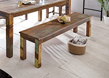 FineBuy Esszimmerbank DELHI 120 X 45 X 38 Cm Mango Shabby Chic Massiv Holz  | Design Landhaus Sitzbank Bootsholz | Holzbank Für Esszimmer | Küchenbank 2    3 ...