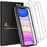 Blukar [4-pack skärmskydd för iPhone 11/iPhone XR 6,1 tum, härdat glas med installationsram, 9H hårdhet, hög upplösning, anti
