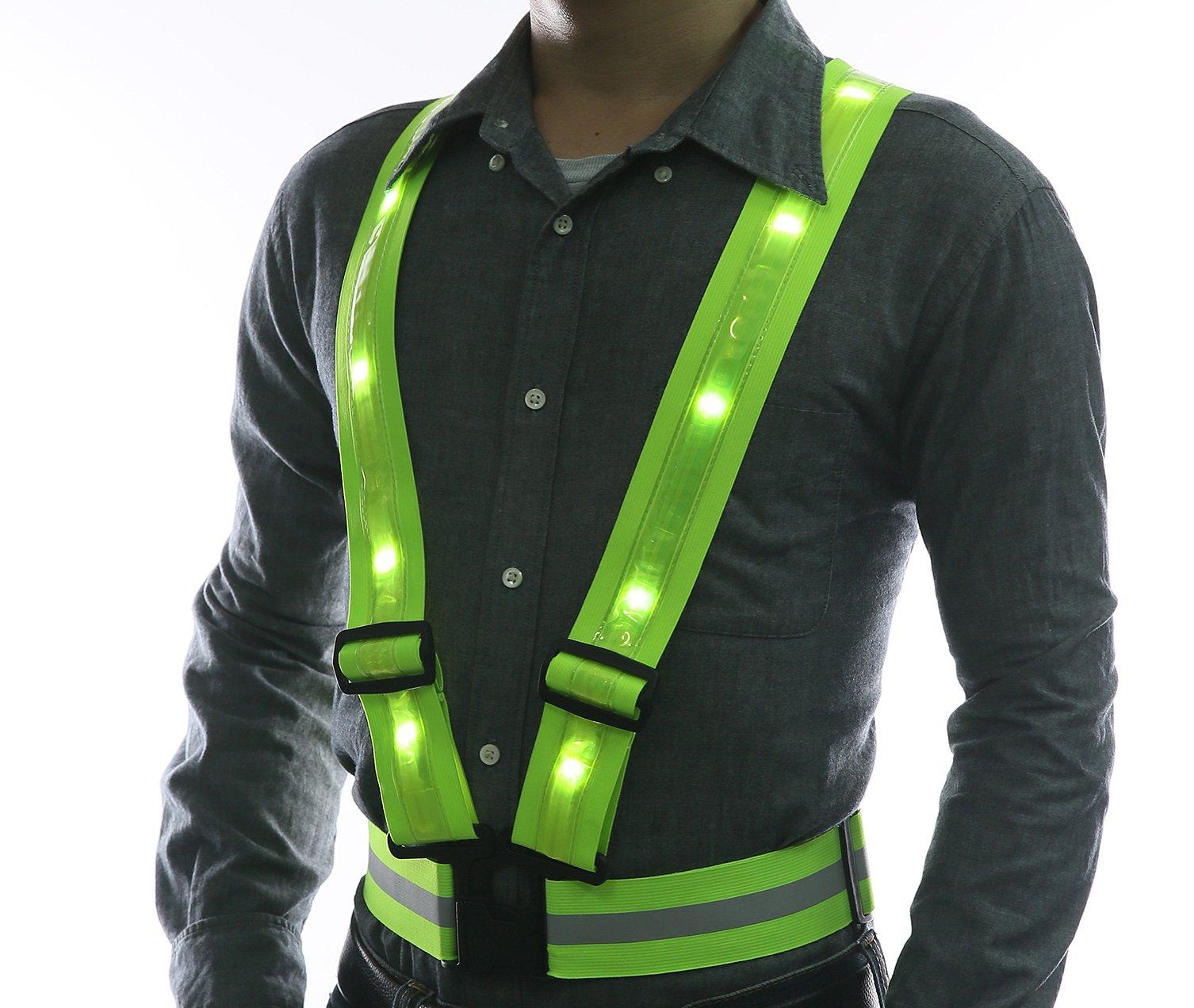 Glowseen - Bretelle per gilet di sicurezza ad alta visibilità, con strisce riflettenti, luci a LED,