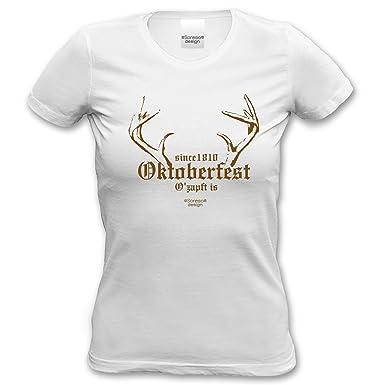 Volksfest Wiesn Shirt tshirt Since 1810 Oktoberfest für Frauen, Damen  kurzarm, Rundhals Farbe: weiss: Amazon.de: Bekleidung