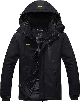 Wantdo Men's Mountain Ski Jacket Waterproof Winter Coat Hooded Windbreaker Warm Snowboarding Jacket Windproof Outdoor Jacket