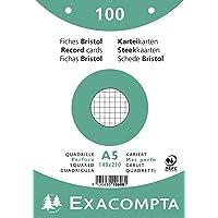Exacompta 10608E Paquet de 100 Fiches Bristol sous film 14, 8 x 21 cm quadrillées 5x5 perforées Blanches
