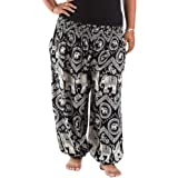 Nuofengkudu Unisex Harem Pants Plus Size Patterned Yoga Hippy Trousers with Pockets