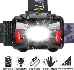 LED Stirnlampe ,Tatuer Wasserdicht Kopflampe 7 Lichtmodi + Sinnesfunktion Strobe + 2 Verstellbares Band + USB Kabel Camping Lampe Beleuchtung für Joggen, Radfahren, Wandern und mehr