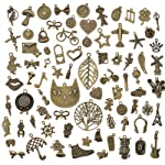 Phoneix Ancient Bronze Alloy Mixed Charms Pendant DIY for Jewelry Making, Finding and Crafting -Set of 80 Pieces