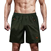 TACVASEN Men's Quick Dry Breathable Outdoor Sports Beach Shorts with Zipper Pockets
