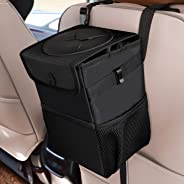 Car Trash Cans with Lid, Multipurpose Garbage Bag and 3 Storage Pockets, Portable Accessories/Toy/Car Organizer, 100% Waterpr