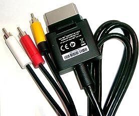 New World Audio Video Av Tv Cable Cord for Microsoft Xbox 360S Slim and Fat Console (Black)