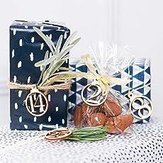 homeofying 1–25Vintage Holz Weihnachten Countdown Adventskalender Nummer DIY-Geschenk Tags multi
