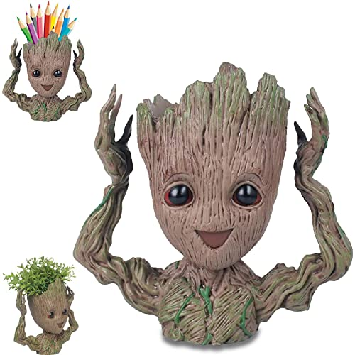 Baby Groot Model, Groot Vaso, Groot Portapenne, Figure del Film Classico-Sono Groot per Statuetta Decorativa, per Fan, Giocattolo a Forma di Penna, Vasi di Fiori, Regali per Bambini (Alzare la mano)