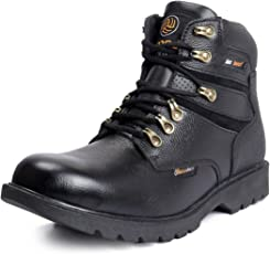 Bacca Bucci Mens 6 inches Premium Steel Toe Cap Real Grain Leather Outdoor Laceup Boots/Warranted Qualtiy & Durable Boot-Black