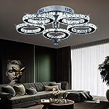 Suspension LED de style moderne à anneaux, avec cristaux