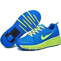 Ubranded Filles Garçons Chaussures à roulettes 1Roue&2 Roues Respirant Patins à roulettes pour Unisexe Enfants Retractable Basket a Roulette