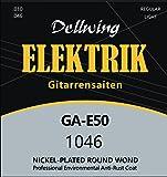 Dellwing E-Gitarren-Saiten - Premium Nickel-Saiten für die E-Gitarre - 6-Saiten-Set - vernickelt mit TOP Klang für Ihre E Gitarre - Gitarrensaiten (1 Set)