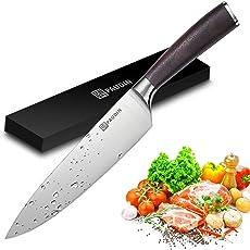 PAUDIN Küchenmesser - 20cm Kochmesser Chefmesser N2 mit scharfer Klinge und ergonomischem Holzgriff, aus Deutschem Edelstahl 5Cr15Mov Köche Messer zum Schneiden