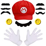 iZoeL Super Mario Costume Kit incl. Mario Red Hat + 2x white gloves + 7x mustache + 2x 5cm buttons for Mario Party Character