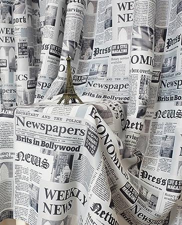 Amazonde Yiyida 2er Set Zeitungsdruck Verdunkelungsvorhang Haken Gardinen Wohnzimmer Vorhang