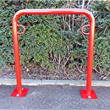 Melzer Metallbau Fahrradanlehnbügel, 850 mm über Flur - zum Aufdübeln, farbig beschichtet - U-förmig, Länge 750 mm - Anlehnbügel für Fahrräder Bügelparker Fahrradanlehnbügel Fahrräderständer