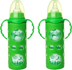 NAUGHTY KIDZ PREMIUM BOROSILICATE HANDY GLASS BOTTLE WITH ULTRASOFT LSR NIPPLE||SILICONE BOTTLE WARMER||EASY TO HOLD HANDLE||KEY TEETHER||HOOD RETAINING CAP AND SEALING DISC RING -250ML+250ML (GREEN+GREEN)