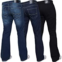 Enzo Mens Bootcut Wide Leg Jeans Stretch Bell Flared Denim Pants All Waist Sizes