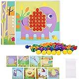 Herefun Mosaique Enfant Puzzle, Jeux de Mosaïque, Jeu Montessori Loisir Créatif avec 240 Boutton Colorés, Montessori Jeu Mosa