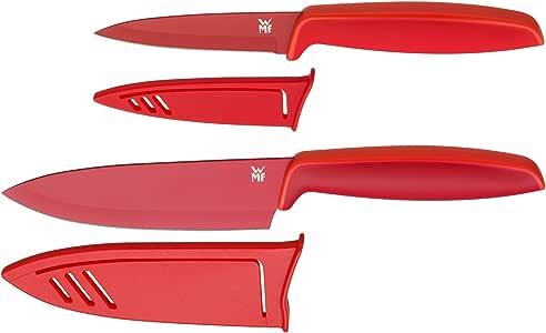 WMF Touch Messerset, 2-teilig, Küchenmesser mit Schutzhülle, Spezialklingenstahl antihaftbeschichtet, scharf, Kochmesser 24 cm, Gemüsemesser, rot