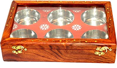 Sharma Handicraft Antique and Unique Sheesham Wooden Fruits Box with 6 Bowls for Showpiece (13-inch, Brown)