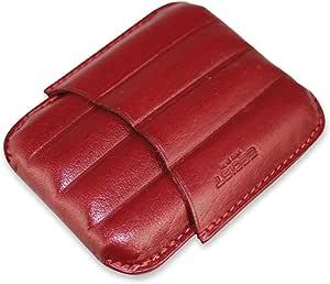 EGOIST - Portasigari Mezzanine I Custodia In Vera Pelle I Capacità 4 Sigari Ammezzati I Design Elegante Sagomato I Alta Qualità I Tascabile - Rosso