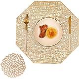 COCOHOME Zestawy podkładek i podkładek, PCW dekoracyjna podkładka zmywalna puste maty stołowe zestaw na Boże Narodzenie kuchn