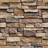 JAAMSO ROYALS Stone Peel and Stick Wallpaper - Self Adhesive Wallpaper - Easily Removable Wallpaper - Brick Peel and…
