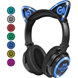 Cat Ear Headphones, LED Foldable Over Ear Bluetooth Headset with Mic