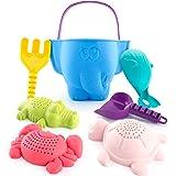 CubicFun kit de Jouets de Plage Enfant, Jouet de Sable avec Seau Plage, Turtle Crocodile Baleine Crabe Moules Jouets de Bain,