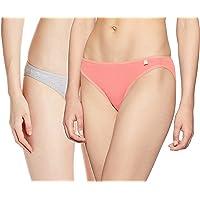 Jockey Women's Cotton Bikini Brief (SS02_Lt.Grey Melange & Peach Blossom_Medium)(Pack of 2)