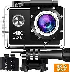 """Action Cam 4K 16MP Wifi Action Kamera BUIEJDOG Sports Cam Ultra Full HD 2"""" LCD 170 ° Weitwinkel 30 Meter Wasserdicht Unterwasserkamera mit 2 1050mAh Akkus und kostenlose Accessoires"""