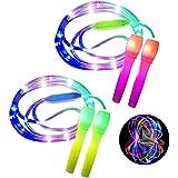 ANBET 2 stuks LED Light Up springtouw in lengte verstelbaar en drie lichtmodi Speed springtouw voor kinderen, Light Show, Fit