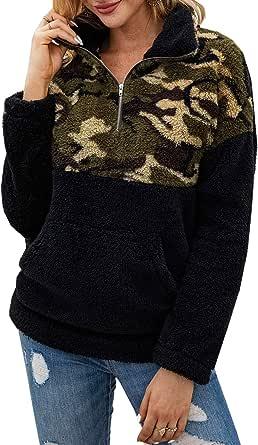 PRETTYGARDEN Felpa da donna a maniche lunghe con stampa leopardata con cerniera e tasche