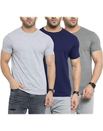 Lotto Mens Plain Regular Polo Fit T-Shirt Combo of 2 Navy Blue /& Mel. Grey