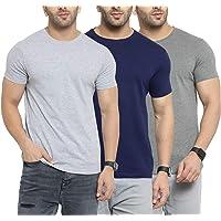 Scott International Men's Basic Cotton Round Neck Half Sleeve Solid T-Shirts - Pack of 3