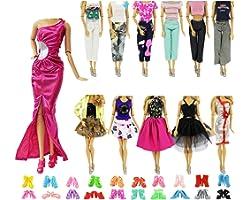 ZITA ELEMENT 20 Pcs Vetements Robe pour Poupées 28-30cm , 10 Set Vêtements Robe 10 Chaussures pour Poupée - Style Aléatoire