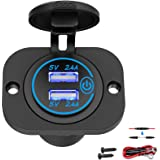 Qidoe Auto USB-stopcontact 12 V-24 V met schakelaar, auto-oplader, USB-inbouw, bus, waterdicht, sigarettenaansteker, aansluit