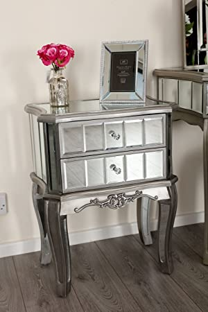 Mirror Silver Trim Bedroom Furniture Bedside Table Console Mirrored Matching  (Sophia Bedside Table): Amazon.co.uk: Kitchen U0026 Home