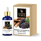 Good Vibes Skin Glow Serum - Vitamin C and Vitamin B3-30 ml - Lightweight Hydrating Formula for Skin Brightening…