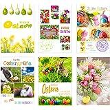 Set 12 Premium Osterkarten mit Umschlag (2x6 = 12 Doppelkarten mit Briefumschlag) Karte Postkarte Ostern