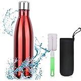 flintronic Botella Termica, 500ML Botella de Agua de Acero Inoxidable, Aislamiento de Vacío de Doble Pared, Botellas de Frío/